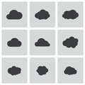 Vector black cloud icons set on white background Royalty Free Stock Photography