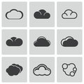 Vector black cloud icons set on white background Stock Images