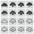 Vector black clouds icons set Royalty Free Stock Images