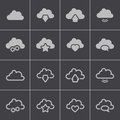 Vector black clouds icons set this is file of eps format Royalty Free Stock Photos