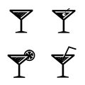 Vector black cocktail icons set