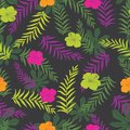Vector black and colourful tropical plants seamless pattern background. Perfect for fabric, scrapbooking, wallpaper projects