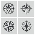 Vector black compass icons set on white background Royalty Free Stock Image