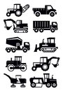 Vector black construction transport icon set white Stock Image