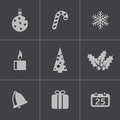 Vector black cristmas icons set on white background Stock Photos