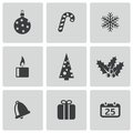 Vector black cristmas icons set on white background Stock Photography