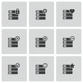 Vector black database icons set on white background Royalty Free Stock Image