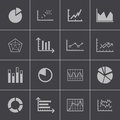 Vector black diagram icons set this is file of eps format Stock Photos