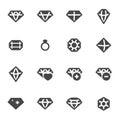 Vector black diamond icons set