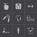 Vector black diet icons set this is file of eps format Royalty Free Stock Photo