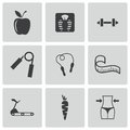 Vector black diet icons set on white background Royalty Free Stock Photo