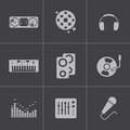 Vector black dj icons set this is file of eps format Royalty Free Stock Images