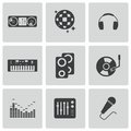 Vector black dj icons set on white background Stock Photo