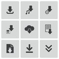 Vector black download icons set this is file of eps format Stock Image