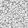 Vector black drawing succulent plant texture drawing seamless pattern background. Great for subtle, botanical, modern
