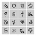 Vector black eco icons set this is file of eps format Royalty Free Stock Photos