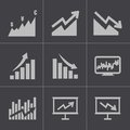 Vector black economic icons set this is file of eps format Stock Photos