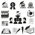Vector black education icons set white Stock Photography