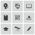 Vector black education icons set on white background Stock Image