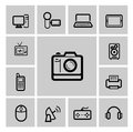Vector black electronic devices icons set Stock Photography