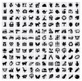 Vector black farming icon set gray Royalty Free Stock Image