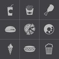 Vector black fast food icons set this is file of eps format Stock Image