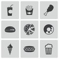 Vector black fast food icons set on white background Royalty Free Stock Photos