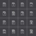 Vector black file type icons set Royalty Free Stock Photo