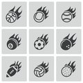 Vector black fire sport balls icons set on white background Royalty Free Stock Images