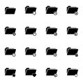 Vector black folder icons set on white background Royalty Free Stock Image