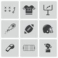 Vector black football icons set on white background Royalty Free Stock Photos