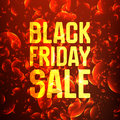 Vector Black Friday Sale abstract background of shining bubbles. Vector illustration on red background. A