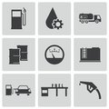 Vector black gas station icons set this is file of eps format Stock Photography