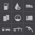 Vector black gas station icons set this is file of eps format Royalty Free Stock Photos