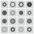 Vector black gears icons set Royalty Free Stock Image