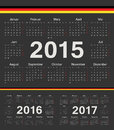 Vector black german circle calendars week starts from monday Stock Photo