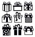 Vector black gift icon set white Stock Images