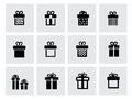 Vector black gift icon set on white this is file of eps format Royalty Free Stock Images
