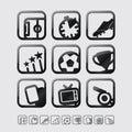 Vector Black Glossy Football / Soccer Icons Set. Royalty Free Stock Photo