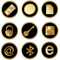Vector black gold round web buttons set 3 Royalty Free Stock Images