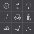 Vector black golf icons set this is file of eps format Stock Photography