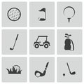 Vector black golf icons set on white background Stock Photo