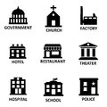 Vector black government building icons set