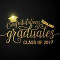 Vector on black graduations background congratulations graduates 2017 class