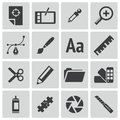 Vector black graphic design icons set Stock Images