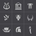 Vector black greece icons set this is file of eps format Royalty Free Stock Image