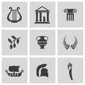 Vector black greece icons set on white background Stock Images
