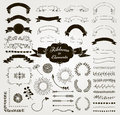Vector Black Hand Drawn Design Elements and Ribbons Set