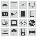Vector black hipster icons set Stock Photography