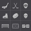 Vector black hockey icons set this is file of eps format Royalty Free Stock Photo